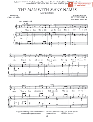 the man with many names sheet music download deseret book