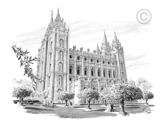 Salt Lake Temple Marriage Sketch 5x7 Print Deseret Book