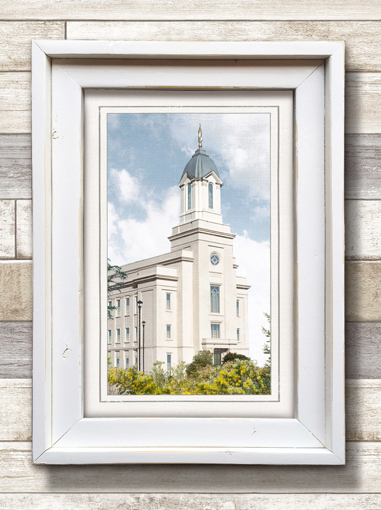 White Framed Cedar City Temple (22x16 Framed Art) - Deseret Book